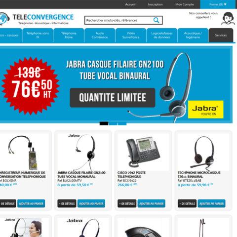 Téléconvergence – Site E-Commerce de téléphonie et informatique synchronisé avec Sage 100