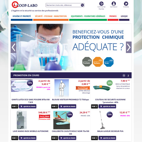 COOP-LABO – Site E-Commerce B2B de vente d'équipements pour laboratoires relié à Sage 100