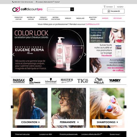 COIFFDISCOUNT PRO – Site E-Commerce B2B de produits de beauté interfacé avec Sage 100 i7
